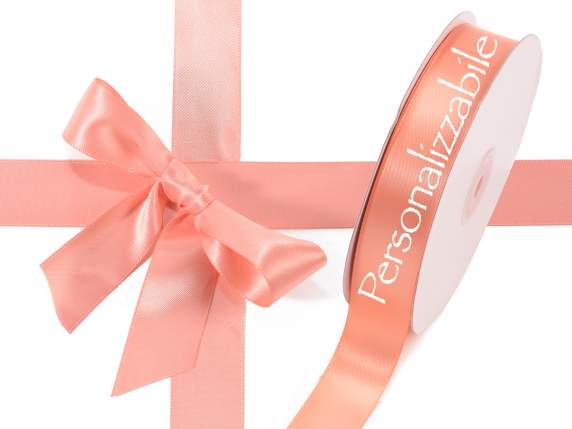 Satin double ribbon mm 25 salmon colour personalized