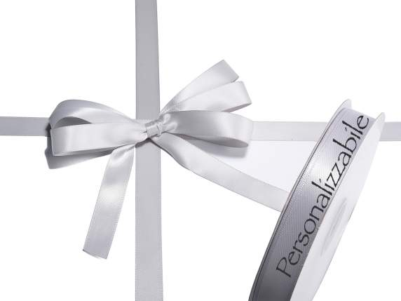 Satin double ribbon mm 15 silver grey personalized