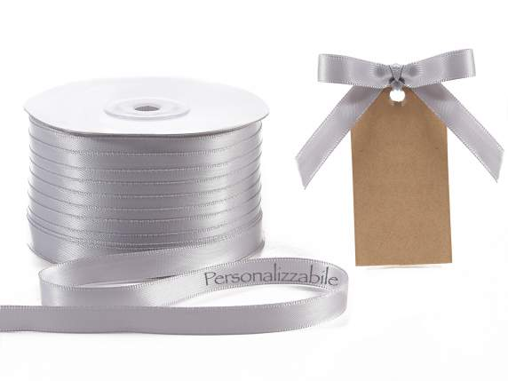 Satin ribbon mm 10 silver grey personalized