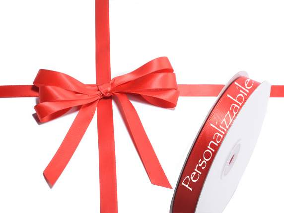 Satin double ribbon mm 15 strawberry red personalized