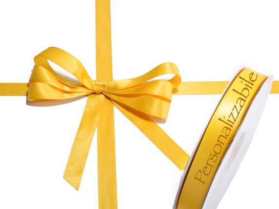 Satin double ribbon mm 15 sunflower yellow personalized