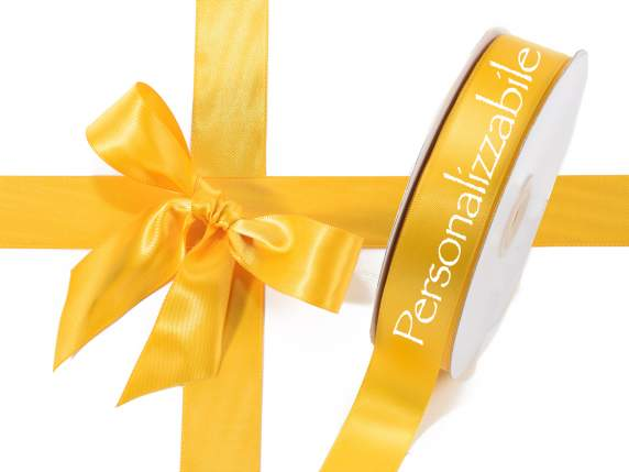 Satin double ribbon mm 25 sunflower yellow personalized