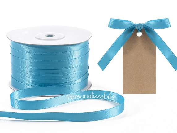 Satin double ribbon mm 10 turquoise personalized