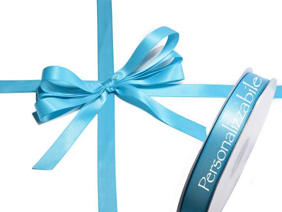 Satin double ribbon mm 15 turquoise personalized