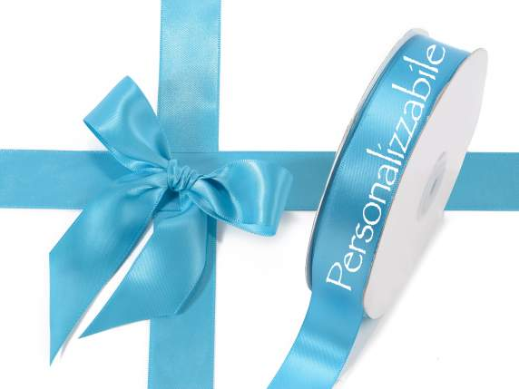 Satin double ribbon mm 25 turquoise personalized