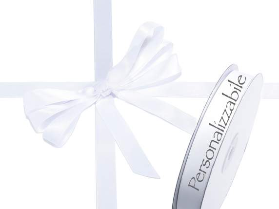 Satin double ribbon mm 15 white snow personalized