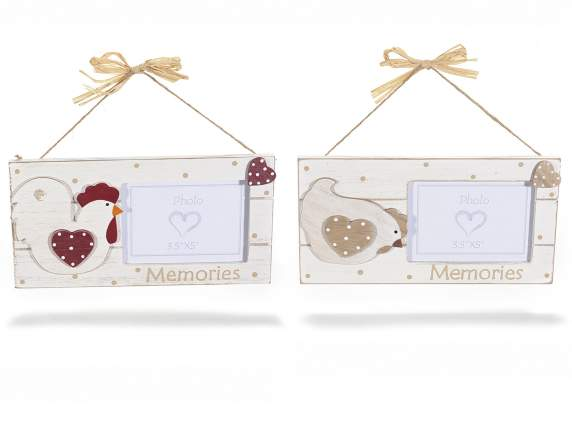 Hanging wooden photoframe w-pheart