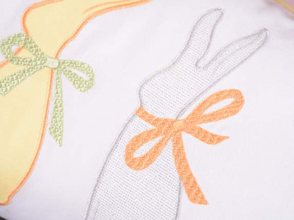 Easter pillow cover w-rabbit embroidery