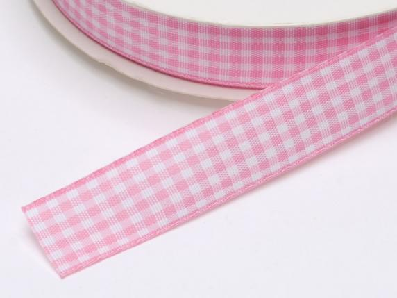 Checked ribbon 15mmx25mt pink