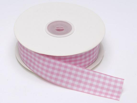 Checked ribbon 25mmx25mt pink