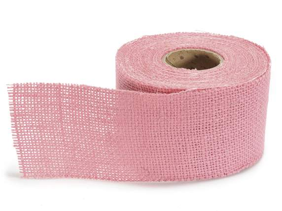 Pink burlap ribbon 63mm x 10 mt