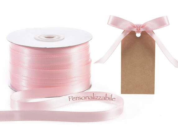 Satin double ribbon mm 10 baby pink personalized