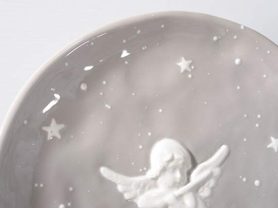 Plate in grey pottery w-Angels decoration