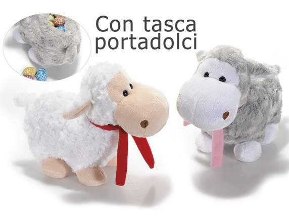 Plush sheep with scarf and zip
