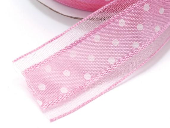Polka dots panglică 25mmx25mt roz antic