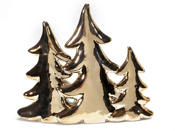 Tris Xmas trees in porcelain with copper effect