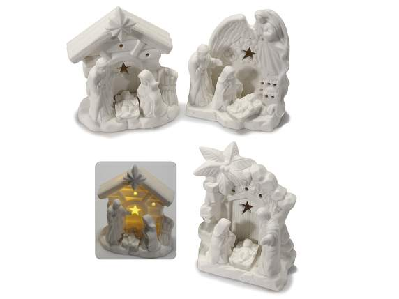 Nativity scene in porcelain with led light