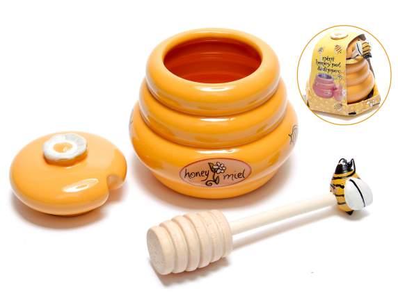 Estremamente Barattolo portamiele in ceramica con cucchiaino di legno (71.07.28  RS18