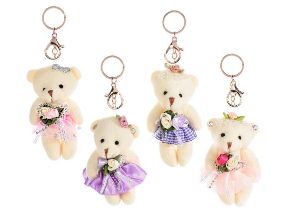 Portachiavi charm orsetto peluche c/gonna, fiori e perline