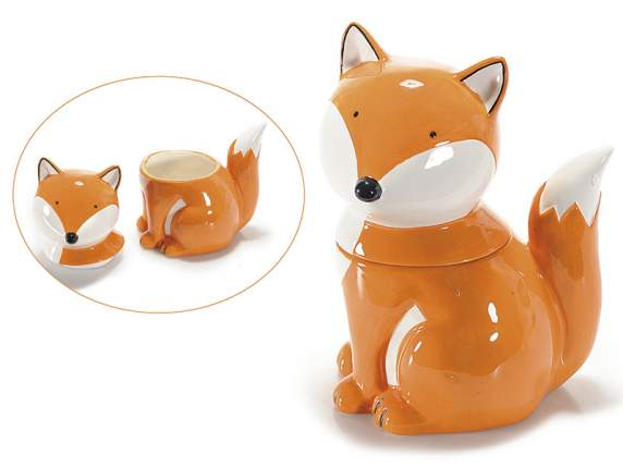 Recipient en porcelaine en forme de renard colore