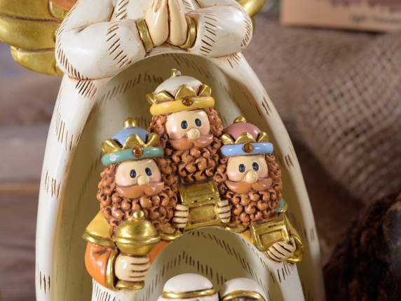 Set 4 personaggi presepe componibile in resina
