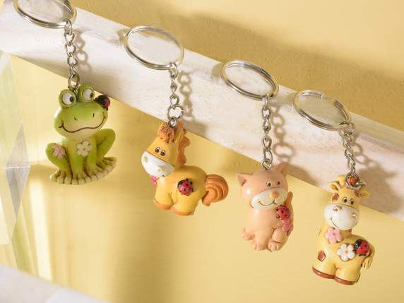 Keyring with resin pretty animal figurines