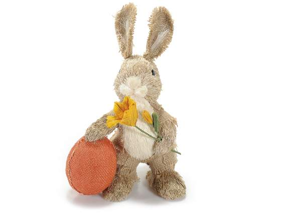 Standing straw rabbit w-Easter egg and flower