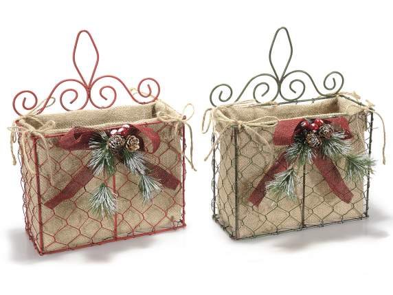 Christmas rectangular baskets in jute