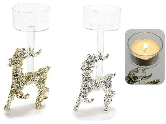 Glass reindeer candle holders