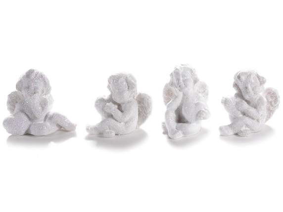Expositor mit 24 polyresin white angels in Papiert