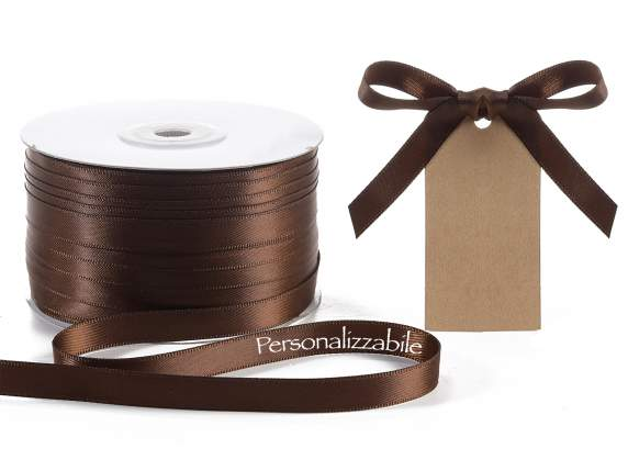 Satin ribbon mm 10 chocolate brown personalized