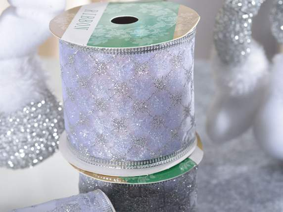 Box of 12 organdy ribbons with silver glitter
