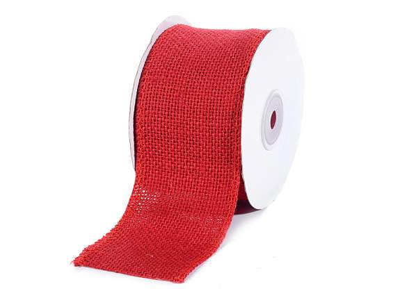 Ruban en jute rouge 60 mm x 5 mt