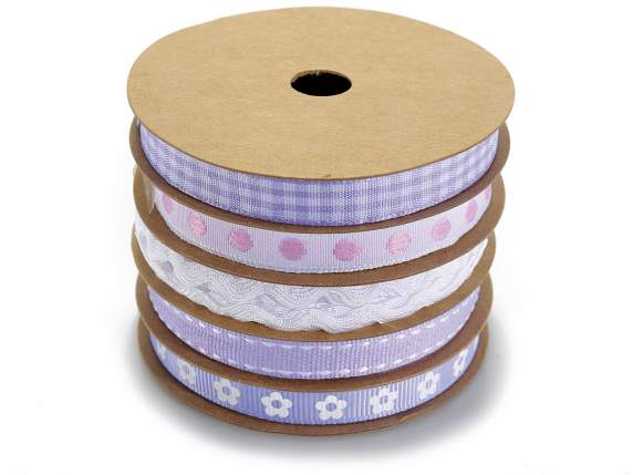 Set 5 rubans Lilas en rouleau multiple
