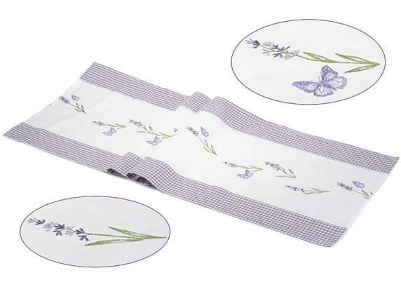 Table runner w-lavender embroidery