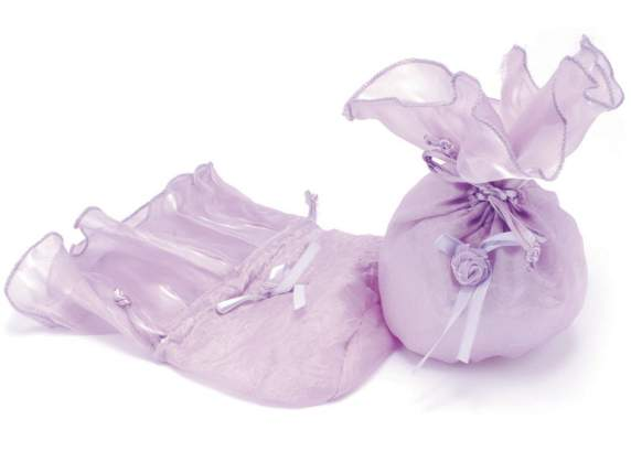 Sugared almond sachet with rose in organdie lilac color