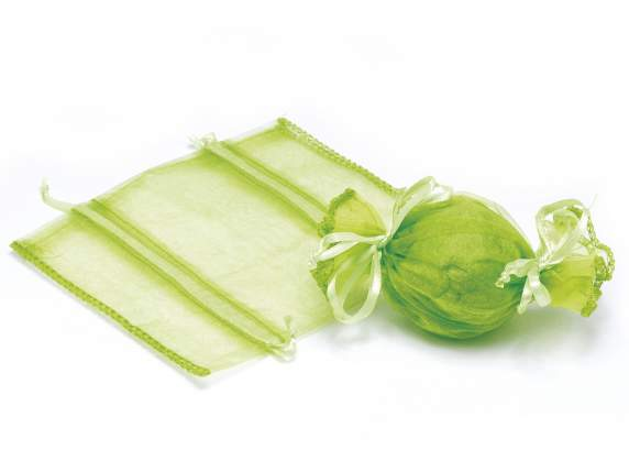 Candy shaped sugared almond green sachet in organdie