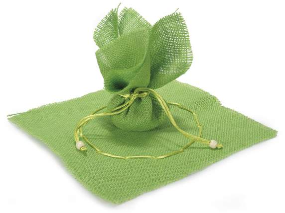 Green jute sachet with string