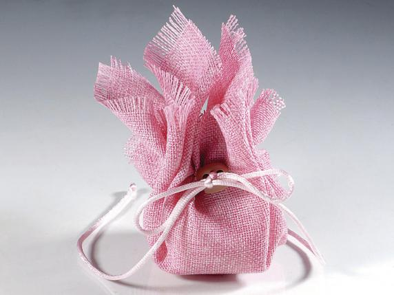 Cloth sugared almond sachet with string pink color