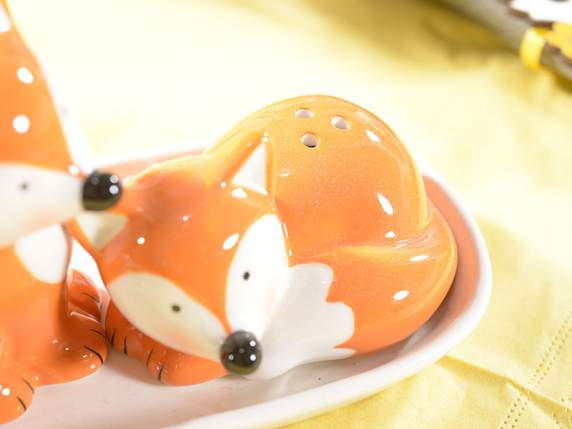 Set The fox salt and pepper in pottery