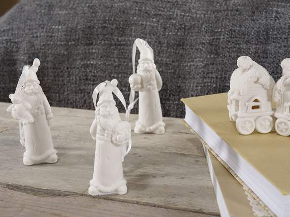 Hanging Santa Claus in white porcelain