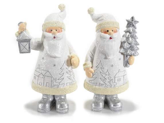 White Santa Claus in resin w-silver decorations