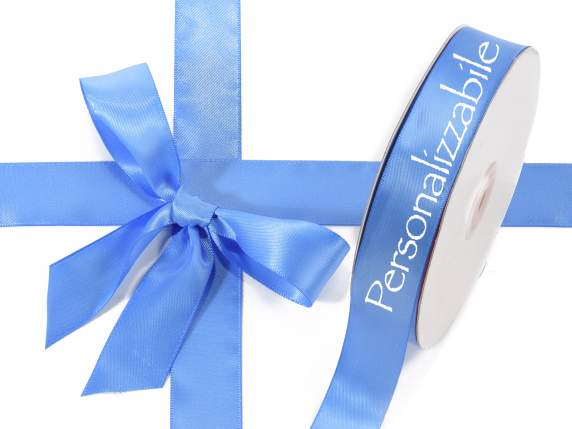 Satin double ribbon mm 25 avio blue personalized