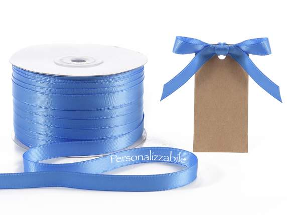 Satin double ribbon mm 10 blue personalized