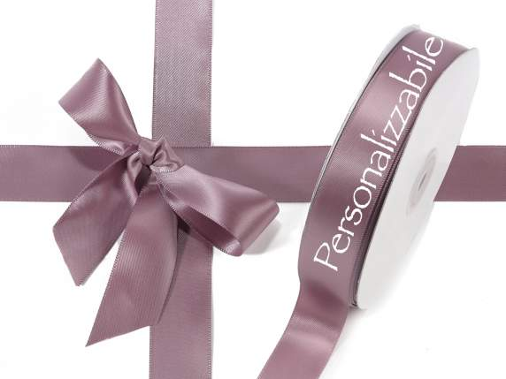 Satin double ribbon mm 25 dove grey personalized
