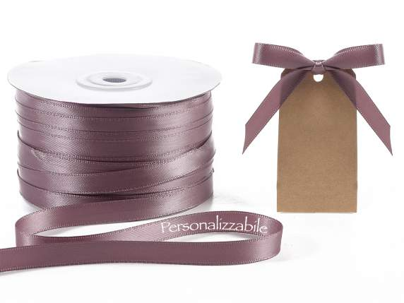 Satin double ribbon mm 10 dove grey personalized
