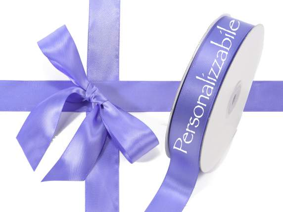 Satin double ribbon mm 25 lavender personalized