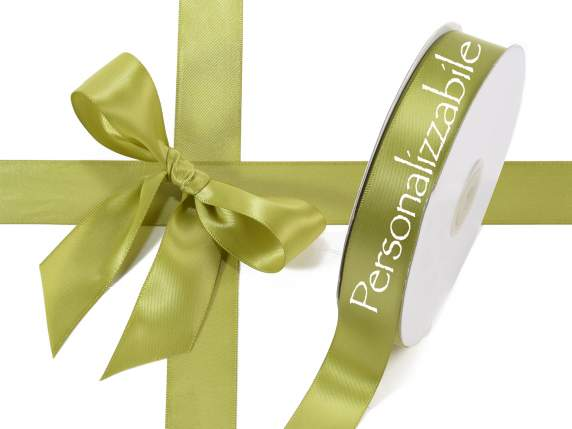 Satin double ribbon mm 25 olive green personalized
