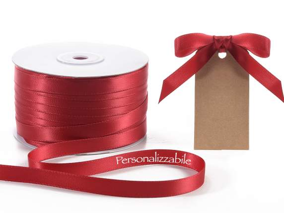 Satin double ribbon mm 10 ruby red personalized