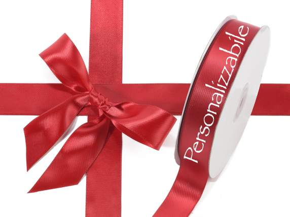 Satin double ribbon mm 25 ruby red personalized